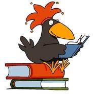 Hier ist der Antolin-Rabe, auf Büchern sitzend, abgebildet.