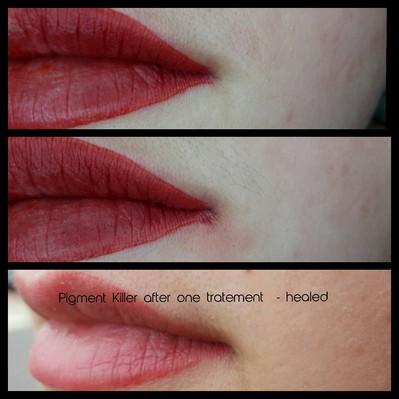 kleine Lippenverzeichnung - gearbeitet mit dem Pigment Killer