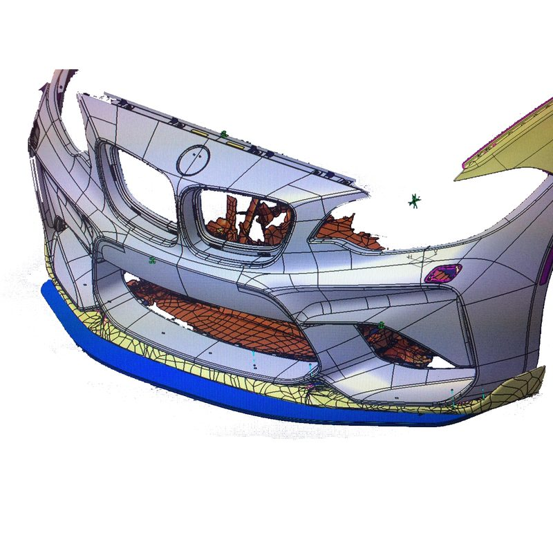 CAD Konstruktion Carbon  Frontspoiler Schwert BMW